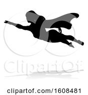 Silhouetted Flying Female Super Hero With A Reflection Or Shadow On A White Background
