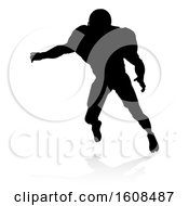 Poster, Art Print Of Silhouetted Football Player With A Reflection Or Shadow On A White Background