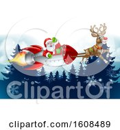 Reindeer Flying With Santa In A Rocket Over Evergreens With Snowflakes