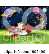 Reindeer Flying With Santa In A Rocket Over In Outer Space