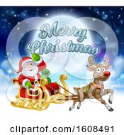 Merry Christmas Greeting With Santa Claus In A Flying Magic Sleigh With A Red Nosed Reindeer Against The Moon