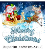 Merry Christmas Greeting With Santa Claus In A Flying Magic Sleigh With A Red Nosed Reindeer Over Evergreens And Snowflakes