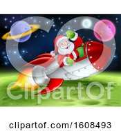 Santa Riding A Rocket In Outer Space