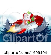 Santa Riding In A Rocket Over Evergreen Trees And Snowflakes