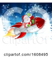 Santa Riding In A Rocket Over Trees And Snowflakes