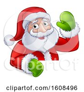 Cartoon Christmas Santa Claus Waving Over A Sign