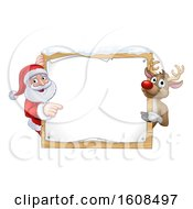 Christmas Santa Claus And Reindeer With A Blank Sign With Snow