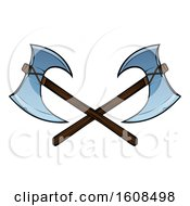 Clipart Of Crossed Viking Axes Royalty Free Vector Illustration by AtStockIllustration