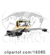Snowcat Tractor Moving Snow Off Of A Road In The Winter Clipart Illustration