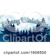 Merry Christmas Greeting With Silhouetted Evergreen Trees Under A Winter Sky