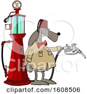 Shriners Dog Attendant By An Old Fashioned Gas Pump