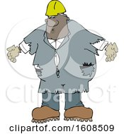 Clipart Of A Cartoon Black Male Worker Wearing Old Torn Coveralls And A White Hard Hat Royalty Free Vector Illustration