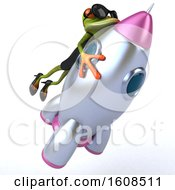 3d Green Female Frog Flying On A Rocket On A White Background