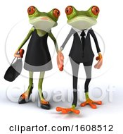 3d Formal Green Springer Frog Couple Holding Hands On A White Background