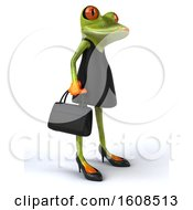 3d Green Female Frog In A Black Dress Holding A Purse On A White Background