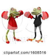 Clipart Of A 3d Green Frog Couple Wearing Boxing Gloves And Fighting On A White Background Royalty Free Illustration by Julos