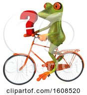 3d Green Frog Holding A Question Mark On A White Background