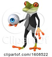 3d Green Frog Holding An Eyeball On A White Background