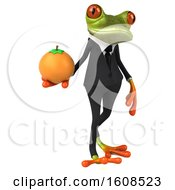 3d Green Frog Holding An Orange On A White Background