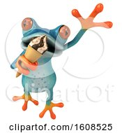 3d Blue Frog Holding A Waffle Cone On A White Background
