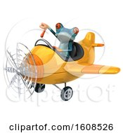 3d Blue Frog Flying A Plane On A White Background