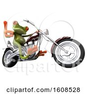 3d Green Frog Riding A Motorcycle On A White Background