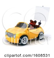 3d Red Frog Driving A Convertible On A White Background