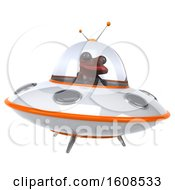 3d Red Frog Flying A Ufo On A White Background