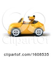 3d Yellow Frog Driving A Convertible On A White Background