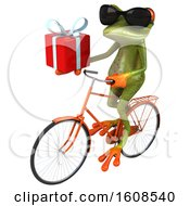 3d Green Frog Holding A Gift On A White Background