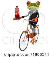 3d Green Frog Holding A Soda On A White Background