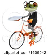 3d Green Frog Holding A Plate On A White Background