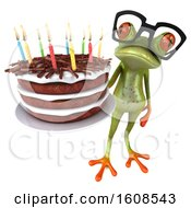 3d Green Frog Holding A Birthday Cake On A White Background
