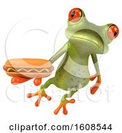 3d Green Frog Holding A Hot Dog On A White Background