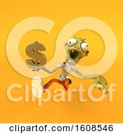 Poster, Art Print Of 3d Zombie Holding A Dollar Sign On A Yellow Background
