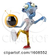Clipart Of A 3d Blue Zombie Holding A Tv On A White Background Royalty Free Illustration