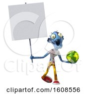 Clipart Of A 3d Blue Zombie Holding A Globe On A White Background Royalty Free Illustration