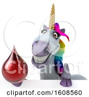 September 18th, 2018: Clipart Of A 3d Unicorn Holding A Blood Drop On A White Background Royalty Free Illustration by Julos