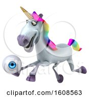 September 17th, 2018: Clipart Of A 3d Unicorn Holding An Eyeball On A White Background Royalty Free Illustration by Julos