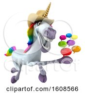 3d Cowboy Unicorn Holding Messages On A White Background