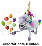 Clipart Of A 3d Unicorn Holding Produce On A White Background Royalty Free Illustration