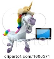 September 18th, 2018: Clipart Of A 3d Cowboy Unicorn Holding A Tablet On A White Background Royalty Free Illustration by Julos