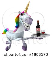 September 18th, 2018: Clipart Of A 3d Unicorn Holding Wine On A White Background Royalty Free Illustration by Julos