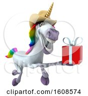 September 18th, 2018: Clipart Of A 3d Cowboy Unicorn Holding A Gift On A White Background Royalty Free Illustration by Julos