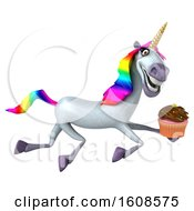 September 17th, 2018: Clipart Of A 3d Unicorn Holding A Cupcake On A White Background Royalty Free Illustration by Julos