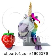 September 17th, 2018: Clipart Of A 3d Unicorn Holding A Strawberry On A White Background Royalty Free Illustration by Julos