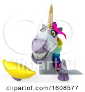 September 17th, 2018: Clipart Of A 3d Unicorn Holding A Banana On A White Background Royalty Free Illustration by Julos