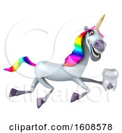 September 17th, 2018: Clipart Of A 3d Unicorn Holding A Tooth On A White Background Royalty Free Illustration by Julos