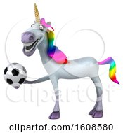 September 17th, 2018: Clipart Of A 3d Unicorn Holding A Soccer Ball On A White Background Royalty Free Illustration by Julos