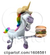 September 17th, 2018: Clipart Of A 3d Cowboy Unicorn Holding A Burger On A White Background Royalty Free Illustration by Julos
